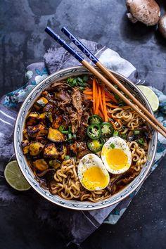 Crockpot Crispy Caramelized Pork Ramen Noodle Soup w/Curry Roasted Acorn Squash - Click for 20 more easy Ramen Noodle Recipes!