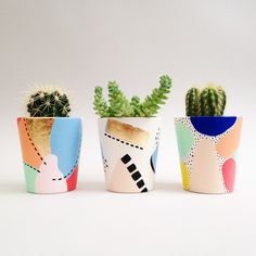 Inspiration for our Paint a Planter workshop guests. We love painting these pots. Each design is so different but they are all full of colour and use mark making techniques for detail.
