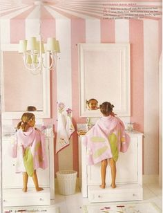 I love the paint in this space--cute soft pink that's painted up into a parachute/tent.  Little girl heaven!  (Pull out steps again.)