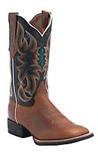 Tony Lama 3R Women's Tan with Black Austin Top Square Toe Western Boot
