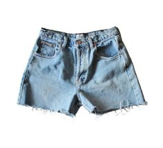 Vintage 90s Calvin Klein Light Blue Cut Off Denim Shorts Women M // Button Fly by bluebutterflyvintage on Etsy