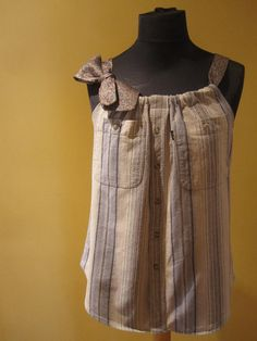 an old mens shirt into a tank top. This is so cute!