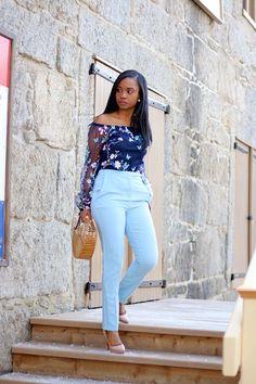 *Light blue pants + similar navy print tank top + nude pumps/sandals
