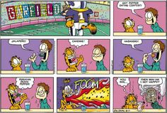 Yeah, I've heard the claim that the Garfield strip was never intended to be funny. I don't buy it. Garfield Cartoon, Garfield And Odie, Garfield Comics, Cat Cartoons, Funny Cats, Funny Jokes, Hilarious, Garfield Quotes, Pokemon
