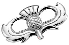 Scottish Thistle Broad Brooch Crafted in Scotland in Sterling Silver  * Brooch width 30mm (1.2 inch) * Unique design inspired by Celtic forms * Made with finest traditional materials * Individually hand-crafted in Scotland in a family run workshop * Presentation boxed to make a great gift * Matching pendant also available