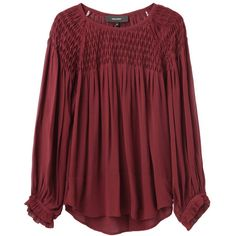 Isabel Marant Dajo Smocking Top (€340) ❤ liked on Polyvore featuring tops, blouses, shirts, sweaters, sheer silk blouse, silk blouses, raglan shirts, red blouse and loose shirts