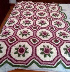 Esquema Manta afgana ~ Dos Agujas y Crochet                              …
