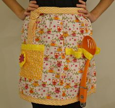 Pink Orange and Yellow Owl Apron with Deep Pocket and by SewPookie, $28.00