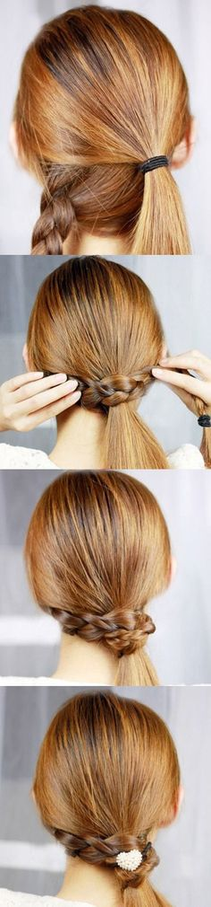 Braid-Wrapped Ponytail #diy #hair #ponytail