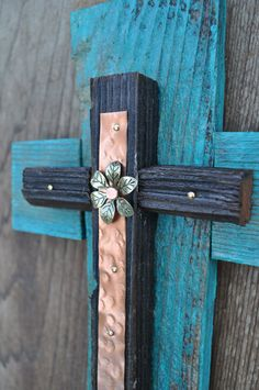 Turquoise Copper Rustic Cross -One of a kind reclaimed wood cross, western style cross,western style decor