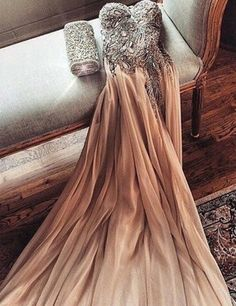 Pretty A-line Strapless Ruching Beading Long Sexy Prom Dress from SheDress 2016 Champagne Chiffon Crystals Prom Dresses Side Slit Long Evening Gowns Beaded Chiffon, Beaded Top, Chiffon Gown, Silk Dress, Long Evening Gowns, Fashion Mode, Dress Fashion, Jojo Fashion, Fashion Beauty