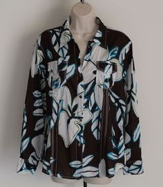 Chico's Size 2 Floral Button Down Shirt Long Sleeves Brown Blue L 12 14 #Chicos #ButtonDownShirt #Casual