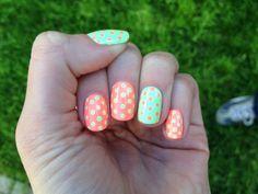 Neon dot nails