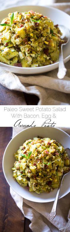 Paleo Sweet Potato Salad with Bacon, Eggs and Avocado Pesto