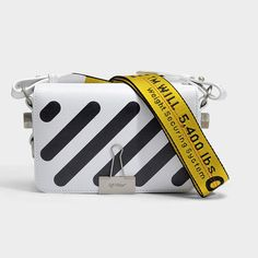 e12b94794ca4 Off-White OFF WHITE Diag Mini Flap Bag in White Leather ラグジュアリーなファッション,