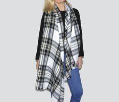 Soft Tartan Fringed Blanket Scarf Black Stone & White