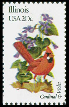 1982 20c Illinois State Bird & Flower - Catalog # 1965 For Sale at Mystic Stamp Company