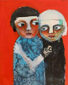 """Kari Anne Marstein - kunst og kreativitet - Norwegian artist - acrylic painting on canvas """"Sisters"""""""