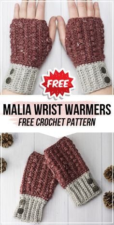 crochet Malia Wrist Warmers free pattern       #FingerlessMittens  #crorchet #freecrocehtpattern via @shareapattern.com