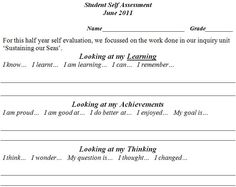 Self Assessment. This would go really well in student reports