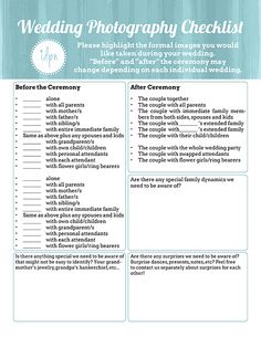 FREE Printable- Realistic Wedding Photography Checklists