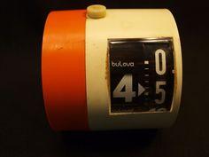 Vintage Retro Mid Century Working Bulova Tube Digit Rotate Alarm Clock Germany