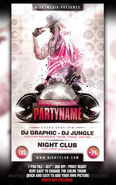 "White ¨C Trance ¨C Electro ¨C House ¨C Disco ¨C Party Flyer ThePSDfiles are setup at 1350px x 2250px (4x7"" with .25"" bleeds)CMYK 300DPI¨CPRINT READYVery well organised file Everything layered and editable Photo not included in download Fonts info included in help f"