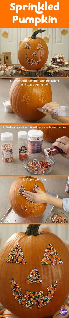 Give your Halloween pumpkin a fun new look. With just sprinkles and piping gel, you can decorate an easy and impressive Halloween pumpkin that will have you smiling ear to ear.