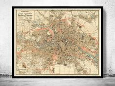 Old Map of Berlin, Germany 1904 Antique Vintage