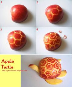 Food Garnishes: How To Make A .and Food Garnishes: How To Make A . How to Make Purple Apple Tortoise - Fruit Carving Garnish - Food Art Dec. Fruit Crafts, Fruit Creations, Food Sculpture, Sculpture Ideas, Fingerfood Party, Fruit And Vegetable Carving, Food Carving, Fruit Decorations, Watermelon Carving