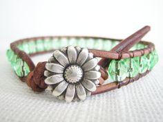 Beaded Leather Bracelet Light Green Czech by TrulyAmberJewelry, $34.00