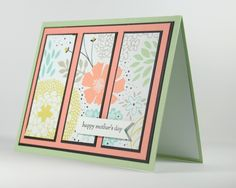 Mother's Day Card with Three Panels of Bright Flowers by CardsbyLiBe