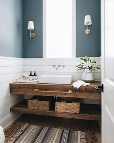 Reclaimed Wood Sink vanity with Vessel Sink - Cottage - Bathroom Wood Sink, Wood Bathroom, Bathroom Renos, Neutral Bathroom, Modern Bathroom, Bathroom Ideas, Bathroom Beach, Bathroom Sconces, Wood Counter