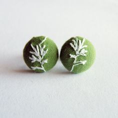 Embroidered Green and White Little Button Earrings. $7.00, from coloured squares, via Etsy.