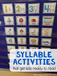 Fun syllable activities (with free printables Free syllable sorting cards plus syllable activities that help kids get ready to read.Free syllable sorting cards plus syllable activities that help kids get ready to read. Syllables Kindergarten, Prek Literacy, Phonics Activities, Early Literacy, Kindergarten Reading, Preschool Kindergarten, Literacy Centers, Rhyming Games, Writing Centers