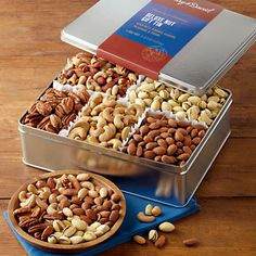 Order the Deluxe Mixed Nuts Gift Tin from Harry & David. Gift Crates, Gift Boxes, Mermaid Party Food, Dry Fruit Box, Food Packaging Design, Tin Gifts, Party Food And Drinks, Mixed Nuts, Chocolate Treats