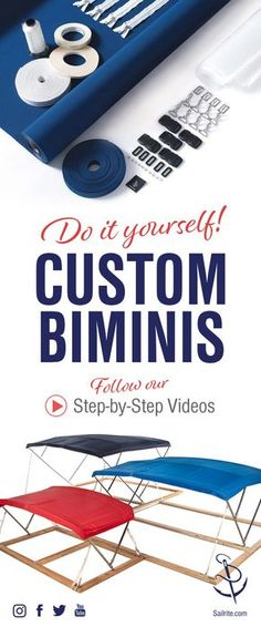 Personalize your boat using our new Bimini Frame and Skin Kits! Once you order your kit, our step-by-step video tutorials are a great companion to help you on your bimini journey. #sailing #boating #diy #bimini #sewing #marine #canvas