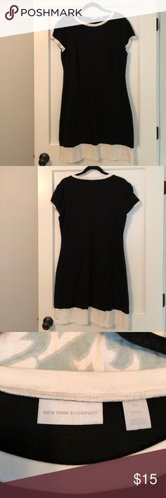 NWOT NYC Black Cotton Dress NWOT New York & Company black cotton dress with white lining. Perfect for a casual afternoon & would great with a statement piece necklace. New York & Company Dresses