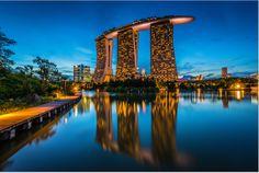 Marina Bay Sands at #dusk, Singapore. #marinabaysands #travel #placestovisit #singapore #toursandtravels
