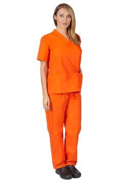 Natural Uniforms Women's Scrub Set Medical Scrub Tops and Pants Orange Orange Scrubs, Black Scrubs, Discount Scrubs, Cheap Scrubs, Womens Scrubs, Theatre Costumes, Scrub Sets, Medical Scrubs, Orange Is The New Black