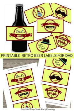 These printable retro beer labels are the perfect unique gift for dad on his birthday or as a fathers day gift. If he loves beer and loves retro then these labels are perfect for him. Grab his favorite beer and add these retro labels for a fun gift.