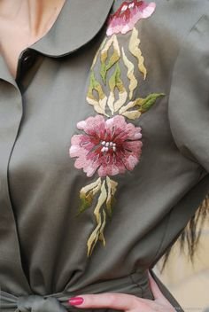 "Exclusive cloak with hand embroidery, 'a Branch of orchids'. Online shopping on My Livemaster. - Exclusive cloak with hand embroidery, ""a Branch of orchids"" - buy or order in an online shop on Livemaster Hand Embroidery Dress, Embroidery Suits Design, Flower Embroidery Designs, Embroidered Clothes, Silk Ribbon Embroidery, Embroidery Fashion, Hand Embroidery Patterns, Embroidery Stitches, Machine Embroidery"