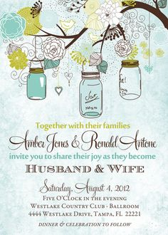 Rustic Trees and Mason Jars Wedding invitation [410] - $18.00 : Shutterbug Sentiments, Custom birthday invitations. Printable baby and bridal shower invites. Holiday & graduation cards.