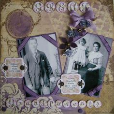 Great Grandparents ~ Heritage page with a pretty lavender and sepia color palette. Love the corner ribbon photo framing.