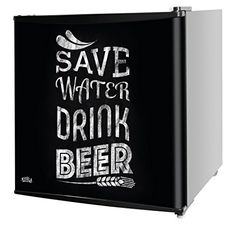 "Kuhla Table Top Fridge with ""Save Water Drink Beer"" Design KTTF4BGB-1003"