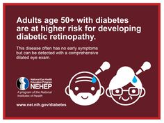 Adults age 50+ with diabetes are at higher risk for developing diabetic retinopathy. Please share this for National Diabetes Month!