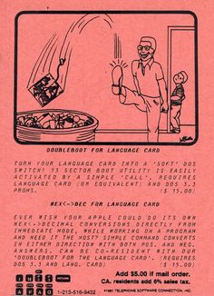 Postcard ad for Doubleboot for Language Card and Hex<->Dec for Language Card programs (1981). Telephone, Connection, Software, Language, Memes, Cards, Phone, Meme, Languages