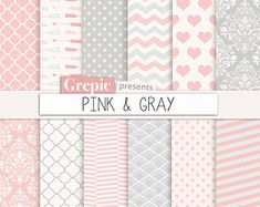 Pink lemonade digital paper: PINK LEMONADE pink yellow by Grepic