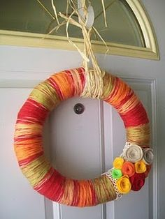 Fall inspired yarn wreath Fall Yarn Wreaths, Apple Wreath, Twine Crafts, Autumn Inspiration, Fall Season, Artsy Fartsy, Sew, Craft Ideas, Inspired