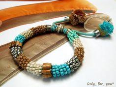 Trendiges Armband Ethno ♥ creme beige türkis von Only_ for_ you  auf DaWanda.com